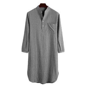 ZANZEA Herren Langarm Robe Pyjama Robe Bademantel Streifen Bademantel Kleid, Farbe: Schwarz, Größe: 3XL