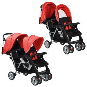 Huicheng Geschwisterwagen Zwillingskinderwagen Stahl Zusammenklappbar Zwillingsbuggy Kinderwagen Rot/Schwarz