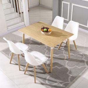 WYCTIN Esszimmertisch Esstisch Buchenholz für 4-6 Stühle Küchentisch 110*60*75cm Holzfarbe