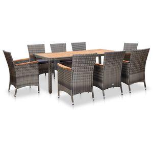 9-teiliges Outdoor-Essgarnitur Garten-Essgruppe Sitzgruppe Tisch + stuhl mit Kissen Poly Rattan Grau