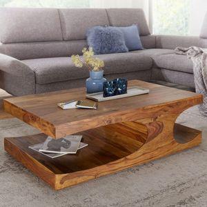WERAN Couchtisch Massiv-Holz Sheesham Wohnzimmer-Tisch dunkel-braun Landhaus-Stil Beistelltisch
