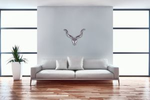 FineBuy Deko Hirschgeweih Aluminium Wanddeko Landhausstil Silber Metall modern | Design Hirschkopf Landhaus Geweih Wand | Wohndeko Hirsch außen | Wandschmuck, Größe:S