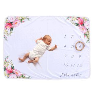Baby-Monats-Meilenstein-Decke für Mädchen-Jungen-Blumenrotwild-Horn-Rahmen-neugeborenes Foto-Stützhintergrund 30 * 40in nicht falten oder verblassen