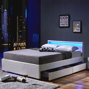HOME DELUXE - LED Bett NUBE mit Schubladen 140 x 200 Weiß Polsterbett Bett inkl. Lattenrost