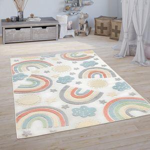 Kinderteppich Kinderzimmer Outdoorteppich Spielteppich 3D Regenbogen Motiv Beige, Grösse:Ø 120 cm Rund