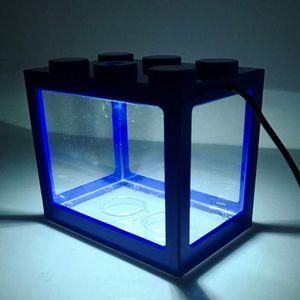 Aquarium-Komplett-Set USB Mini Aquarium Fischbecken mit LED für Büro Desktop Hause Dekoration, Blau