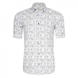 Signum Herren Kurzarmhemd ICON Druckhemd in Karo-Optik 100% Baumwolle, Kragenweite:XL, Signum Farben:Black