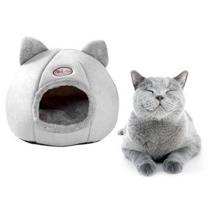 Cuddle Cave Bett für Indoor Katzen und Kleine Hunde, Katze Beruhigende Bett Gemütliche Abgedeckt Schlaf Haus für Welpen, kätzchen Grau Höhlenbett M 33CM