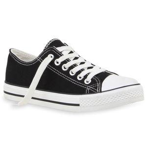 Mytrendshoe Damen Sneakers Sportschuhe Stoffschuhe 71191 Textil Schuhe, Farbe: Schwarz, Größe: 40