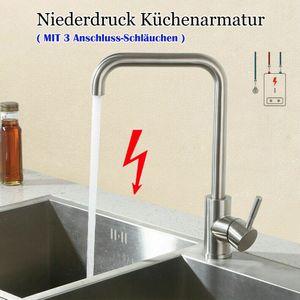 Niederdruck Küche Wasserhahn, 360° Drehbar Küchenarmatur, Mischbatterie, Spültischarmatur für Durchlauferhitzer, mit 3 Anschlussschläuchen, Edelstahl