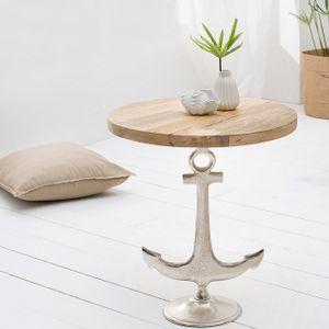 cagü: Design Beistelltisch [ANCORA] Mango mit Silber Anker-Gestell aus Aluminium 50cm Durchmesser