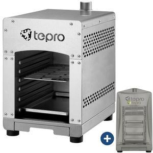 Tepro 800° Steakgrill Basic Abdeckhaube Edelstahl inkl. Grillrost Grillschale 3 KW Hochleistungsgrill Oberhitzegrill
