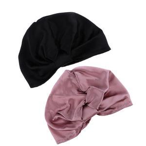 2x Seide Beanie Schlafhaube Nachthaube Schlaf Hut Nachtkappe Schlafmütze Cap für Damen Mädchen