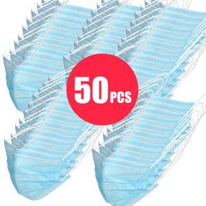 50x Einmal Mundschutz  Maske | CE Zertifikat | 3-lagig, Gesichtsmaske für Mund und Nase - Atemschutzmaske - Vliesstoff Masken | Virus / Viren Bakterien Staub