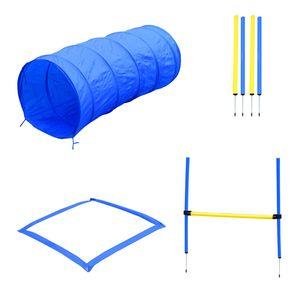 PawHut Agility-Übungs-Set Slalom-Hürden-Tunnel Hundesport Trainingsplatz PE+Polyester Blau+Gelb