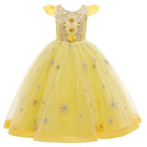 Mädchen Brautjungfer Kleider Blumenmädchen Hochzeitskleid Kommunionskleid Maxi Lange Prinzessinkleid Partykleid Geburtstagstag Abendkleid, Gelb, 160cm