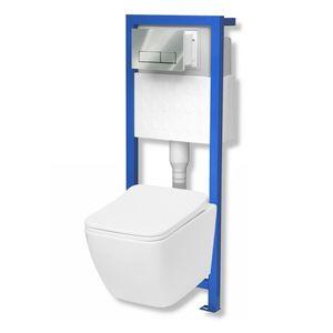 Domino Lavita Vorwandelement inkl. Drückerplatte+ Lino Wand-WC ohne Spülrand + WC-Sitz mit Soft-Close Absenkautomatik Drückerplatte: RC (chrom)