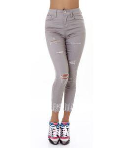 Skinny High Waist 7/8 Jeans mit Risse, Farbe: Grau, Größe: 36