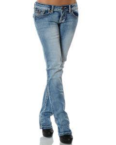Damen Jeans Hose Straight Leg Gerades Bein Dicke Naht DA 12923 Farbe Jeansblau Größe 44
