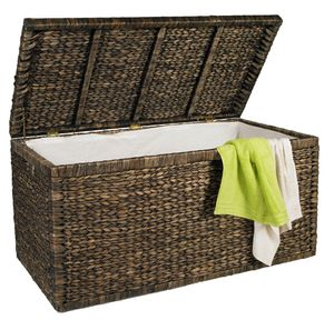 Artra Design Truhe mit Klappdeckel braun, 110 cm, atmungsaktive, BSCI nachhaltige Aufbewahrungsbox mit Deckel Aufbewahrungskiste Aufbewahrungstruhe Wäschetruhe Auflagenbox