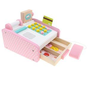 Holz Spielkasse Kinderkasse Kasse Registrierkasse Einkaufswagen Kaufladen Spielzeugkasse mit Spielgeld