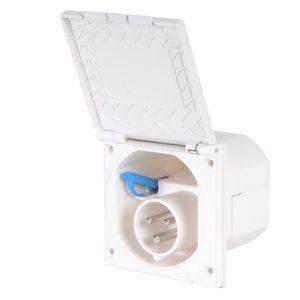CEE Aussensteckdose weiß Spritzwasser geschützt 200-240V, 16A, 3 polig IP44