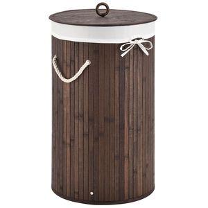 Juskys Bambus Wäschekorb Curly-Round – 55 Liter Volumen – Wäschesammler mit Deckel, Tragegriffen & Stoff Wäschesack – 1 Fach Wäschebox – in Braun