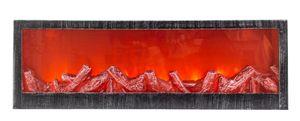 LED Tischkamin Kamin LED Laterne mit realistischer Flammensimulation schwarz/silber 60x20 cm