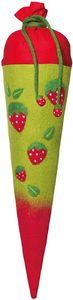 ROTH Schultüte gefilzt Motiv Erdbeeren Größe 70cm rund, mit Band und Rohling - Bezug 100% Wolle