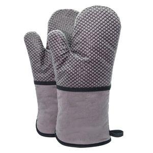 1 Paar hitzebeständige Ofenhandschuhe, Backhandschuhe Kochhandschuhe Rutschfeste silikonbeschichtete Langofenhandschuhe