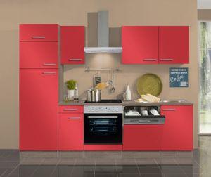Küchenblock Imola 270 cm mit Einbauspüle ohne Elektrogeräte in signalrot glänzend (Geschirrspüler geeignet)