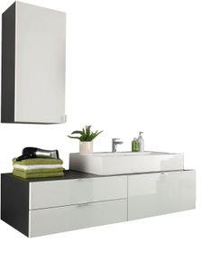 Badmöbel Set 2-teilig 140 x 193 cm in weiß Hochglanz und grau Badezimmer Beach mit Waschtisch und Hängeschrank, Soft-Close