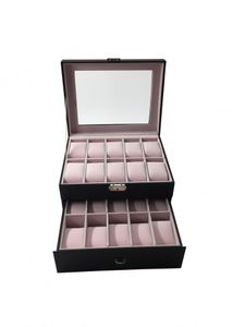 1PLUS Uhren Aufbewahrung Uhrenbox Uhrenkoffer Uhrenkasten 'Basel' für 20 Uhren, schwarz
