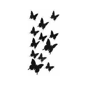 Oblique Unique 3D Schmetterlinge 12er Set Wandtattoo Wandsticker Wanddeko - schwarz