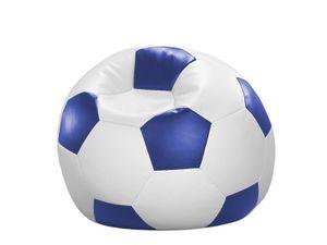 Sitzsack Sitzkissen FUSSBALL weiß-blau Kunstleder 90 x 90 x 90 cm