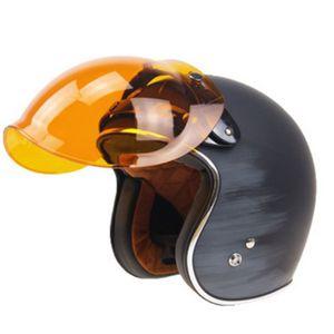 Motorrad Flip Down Retro Helm Visier Wind Bubble Shield Spiegel Objektiv + Basis