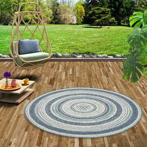 In- und Outdoor Teppich Flachgewebe Carpetto Blau Stripes Rund, Größe:120 cm Rund