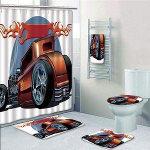 ECZJNT Cars Cartoon Hot Rod Antik Customized Klassische Amerikanische Motor Nostalgie Revival 5 Stück Bad Vorhang Handtuch Teppich Konturmatte Toilettendeckel Abdeckung