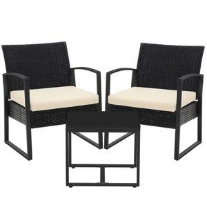 SONGMICS Gartenmöbel-Set, 3er Set, aus Polyrattan einfache Montage, Beistelltisch und 2 Stühle, schwarz-beige GGF010M01
