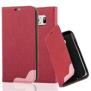 Cadorabo Hülle für Samsung Galaxy S6 EDGE - Hülle in PINKY ROT - Handyhülle in Bast-Optik mit Kartenfach und Standfunktion - Case Cover Schutzhülle Etui Tasche Book Klapp Style