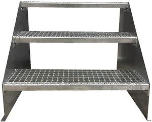 3 stufige freistehende Stahltreppe Standtreppe Breite 80cm / Geschosshöhe 63cm verzinkt