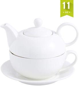 MALACASA, Serie Sweet.Time, Porzellan Teeservice Teeset 4 teilig Teekanne mit Tasse und Untersetzer