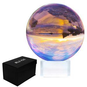 Kristallkugel 100mm - Glaskugel Fotografie mit Ständer und Box - K9 Klare Kristallkugel für Meditation & Heilkunde - Kristall Kugel Linse Foto - Durchsichtiger Glasball für Deko zu Hause & für Partys