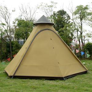 4-Personen Camping Zelt Wasserdichtes Zweischicht-Familienzelt Indian Style Tipi Zelt