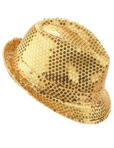 Trilby Hut Partyhut mit Pailletten gold