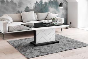 Design Couchtisch Tisch HM-333 Schwarz / Weiß Hochglanz höhenverstellbar ausziehbar