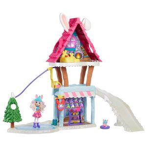 Enchantimals Hasen-Skihütte (ca. 63 cm) mit Bevy Bunny-Puppe (ca. 15 cm) und Tierfreundin Jump