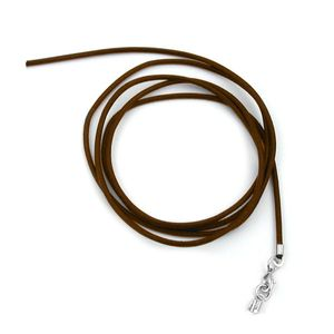 Lederband Halskette für Anhänger Braun Verschluss Karabinerverschluss Silberfarben Länge 1 m verkürzbar. Breite 2 mm