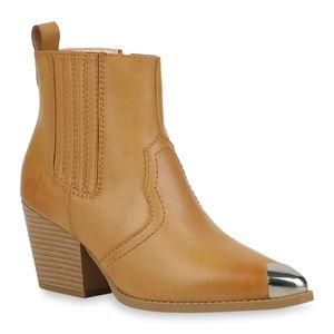 Mytrendshoe Damen Stiefeletten Cowboy Boots Metallic Kappe Western Schuhe 832617, Farbe: Hellbraun, Größe: 38