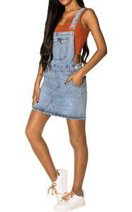 Damen Denim Jeans Latz Rock Basic Minirock Latzkleid Träger Jeansskirt Sommerkleid Jumpsuit, Farben:Blau, Größe:36